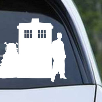 Doctor Who Dalek Tardis and 10th Dr Die Cut Vinyl Decal Sticker