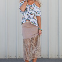 Latte + Lace Maxi Skirt