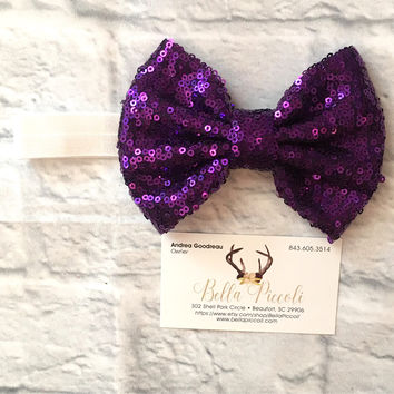 Baby Headbands, Baby Girl Headbands, Purple Bow Headband, White Band Headband, Headbands, Baby Girl, Sequin Headbands, Sequin Bows