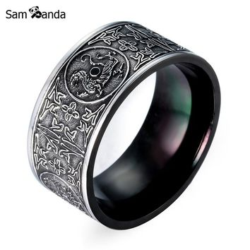 Cool Unique Man's Ring Animal For Man The Old Retro Gothic Chinese Style Stainless Steel Mans Jewelry  For Gift Drop Shipping