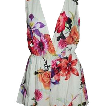 Floral Print Plunging Sleeveless Romper