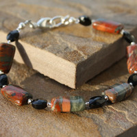 Jasper Bracelet with Black Faceted Stone Beads, Flame Jasper, Earthtone Jasper, Jasper Jewelry