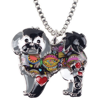 Shih Tzu Dog Enamel Necklace Chain & Pendant - 50% Off Sale!