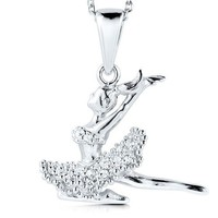Sterling Silver Dancing Girl Pendant Necklace in Cubic Zirconia CZ #n856