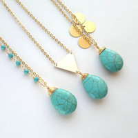 Long Turquoise Teardrop Necklace with Trurquoise Beads or Charms Turquoise Jewelry Drop Pendant Stone and Chain Jewelry Rosary Gold Necklace