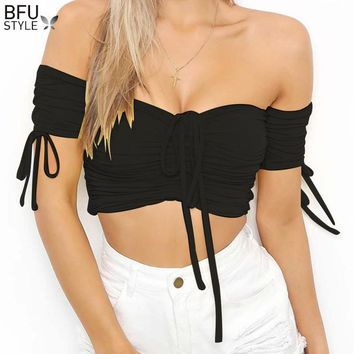 Black White Off Shoulder Crop Tops Blouse Women Lace Up Backless Short Blouses Summer Beach Club Party Clothing Camisetas Mujer