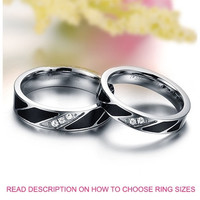 His and Her Cubic Zirconia Diamond CZ Silver Titanium Band Anniversary  Ring (TWO RINGS) = 1929571716
