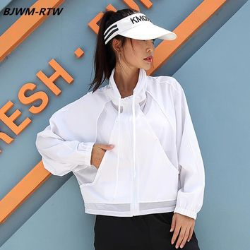 Mesh Splicing Pocket Stand Collar Zipper Loose Sports Jacket Women Solid Breathable Quick Dry long Sleeve Large Version Jacket