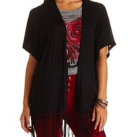 Knit Crocheted Fringe Kimono Top by Charlotte Russe - Black