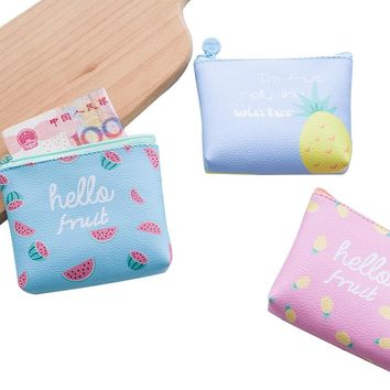 "Fruits Cute "" Hello Fruits"" Graphic Print Coin Purse"