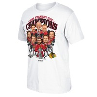 Men's Chicago Blackhawks Reebok White 2015 Stanley Cup Champions Caricature T-Shirt