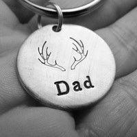 Stocking Stuffer Antler Dad Mens Hand Stamped Personalized Key Chain With Choice of Brushed Aluminum Copper or Brass Charm Tag Made To Order