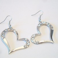 eBlueJay: Rhinestone Abstract Heart Silhouette Earrings Silver Tone Costume Fashion Jewelry Valentine's Day