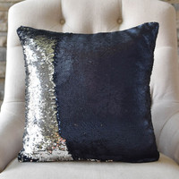 Matte Navy & Silver Reversible Sequin Mermaid Pillow