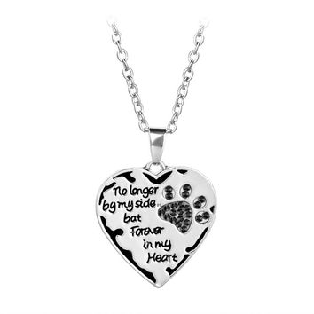 10PCS/Lot Jewelry personality no longer by my side love necklace Pet Shiny Memory Link Chains Brand Necklace For Women
