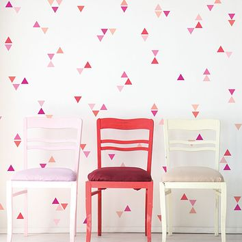 Mini Triangle Wall Decals, Ombre Millennial Pink Orange Matte Decals