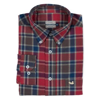 Ocoee Washed Plaid Dress Shirt in Navy and Green by Southern Marsh - FINAL SALE