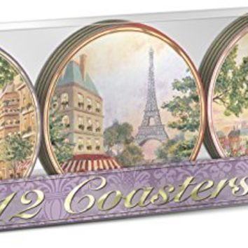 Punch Studio Laminated Paris Promenade Coasters -- Set of 12