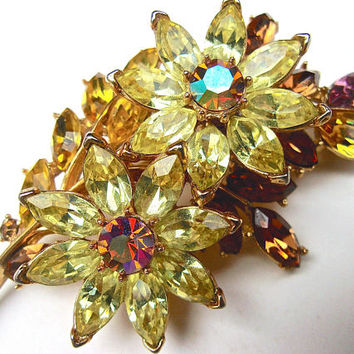 CROWN TRIFARI Citrine Amber Rhinestone Flower Brooch, Layered Leaves, Gold Plated, Vintage