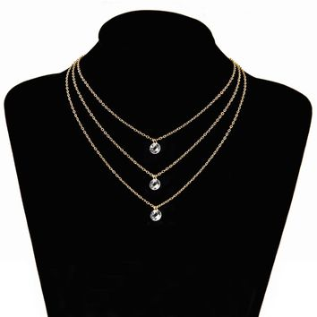 Poputton Gold Color Layered Necklace Jewelery Multilayer Chokers Necklaces for Women Jewelry 3 Multi Layer Chain Necklace