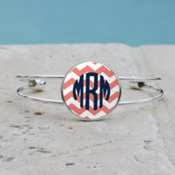Coral Chevron Monogram Pendant Necklace, Coral Chevron Monogram Cuff Bangle Bracelet, Coral Chevron Monogram, Gifts for her