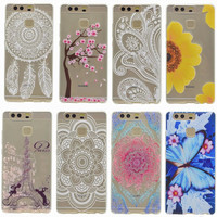 Slim TPU Soft Case For Huawei Ascend P9 P9Lite Transparent Printing Drawing Silicone Phone Cases Cover For Huawei Ascend P9 Lite