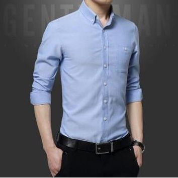 Mens Long Sleeve Classic Button Down Shirt in Sky Blue