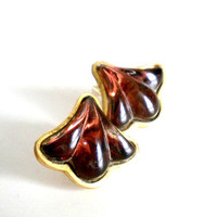 Vintage Ginko Leaf Earrings - Dark Amber and Gold