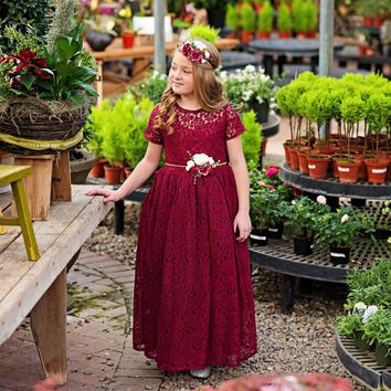 Wine Leah Short Sleeve Lace Gown Dress & Flower Sash Set