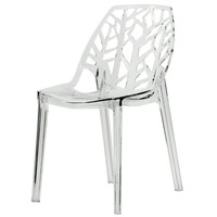 Modern Flora Clear Cut-out Transparent Plastic Dining Chair