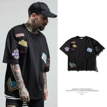 Fashion Man's Printing Embroidery Patch Tees Round collar Short sleeve Cotton Loose T-shirt Black