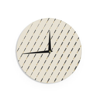 "Nika Martinez ""Glitter Diagonals in Gold"" Tan Wall Clock"