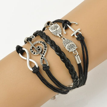 Vintage Leather Owl Music Note Anchor Charm Infinity Punk Statement Bracelet New Fashion Jewelry (Size: 17 cm) = 1946144580