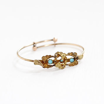 Antique Gold Filled Victorian Simulated Turquoise Bracelet - Late 1800s Hinged Baby Child's Bangle Etruscan Revival Leaf Motif Jewelry