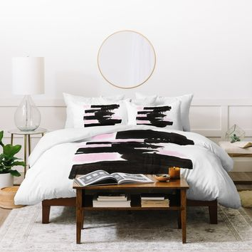 Viviana Gonzalez Minimal black and pink II Duvet Cover | Deny Designs