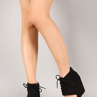 Qupid Flix-42 Perforated Cuff Lace Up Open Toe Wedge