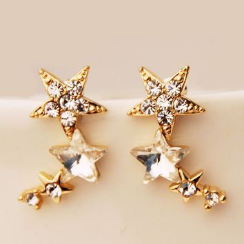 Star Shower Curved Rhinestone Earrings (Only 1 Piercing Needed) - LilyFair Jewelry