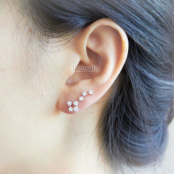 Big Dipper ear pin - Crystal stars / choose your color / gold and silver