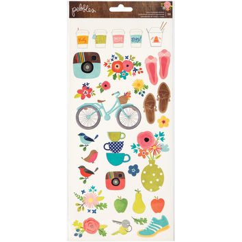 "Happy Day Cardstock Stickers 6""""X12"""" 2/Pkg-Icons & Phrases"