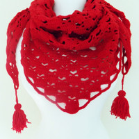 Valentine's day hearts scarf red  scarf red be my Valentine scarf gift for her for who you love handknit women accessories fashion sacrf