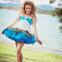White Blue Mermaid Glitz Pageant Dress ( N09) - MADE TO ORDER
