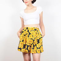 Vintage 90s Shorts Black White Yellow SUNFLOWER Print Shorts Soft Grunge Shorts High Waisted Shorts 1990s Floral Print Boho M Medium L Large