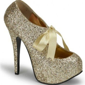 Gold Glitter Satin Bow Tie Platform Heels @ Amiclubwear Heel Shoes online store sales:Stiletto Heel Shoes,High Heel Pumps,Womens High Heel Shoes,Prom Shoes,Summer Shoes,Spring Shoes,Spool Heel,Womens Dress Shoes,Prom Heels,Prom Pumps,High Heel Sandals,Che
