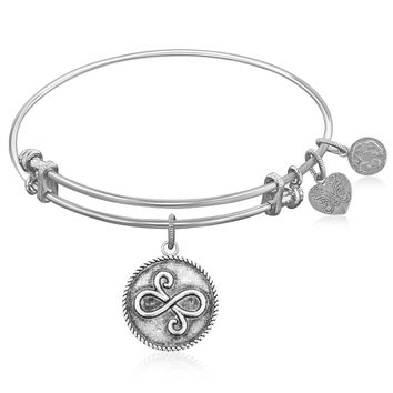 Expandable Bangle in White Tone Brass with Best Friends Closeness Symbol