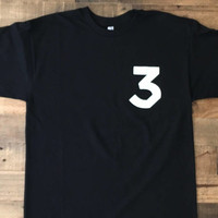 Chance the Rapper Small #3 Tee Shirt Black Short Sleeve Three Chance the Rapper Tour Merch
