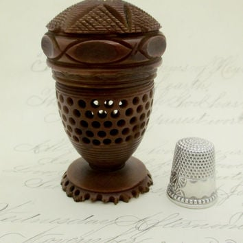 Antique Victorian CARVED TAGUA NUT Thimble Spool Holder Sterling Silver Ketcham & McDougall Thimble