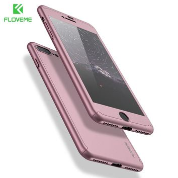 FLOVEME 360 Degree Full Coverage Case For iPhone 6 6S 7 7 Plus Cases Shockproof Slim Hard Case For iPhone 7 Tempered Glass Gift