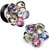 00 Gauge Multi Blooming Glam Gardenia Steel Plug Pair