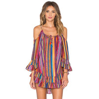 Off Shoulder Fitted Rainbow Printing Fringed Beach Dress