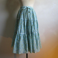 50s Gypsy Boho Vintage Skirt Blue Green Pastel Cotton Blend Floral Ruffle 1950s Dirndl Skirt XS